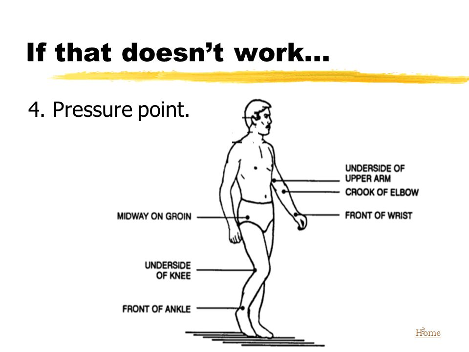 If that doesn't work... 4. Pressure point. Home