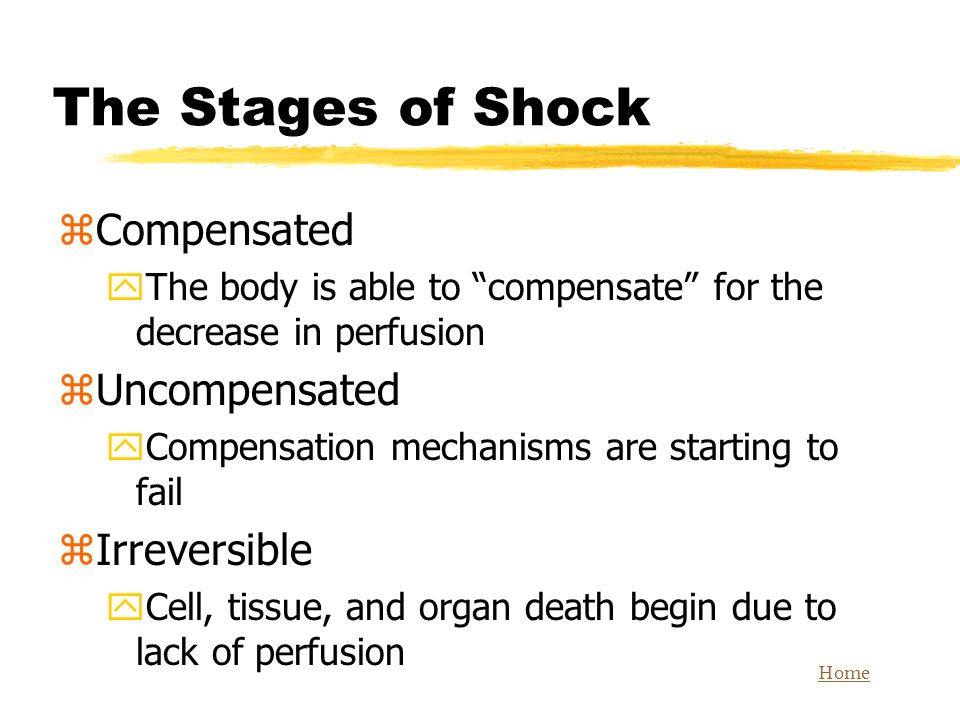 The Stages of Shock Compensated Uncompensated Irreversible