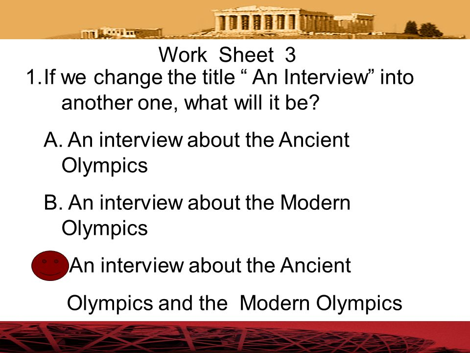 An interview about the Ancient Olympics