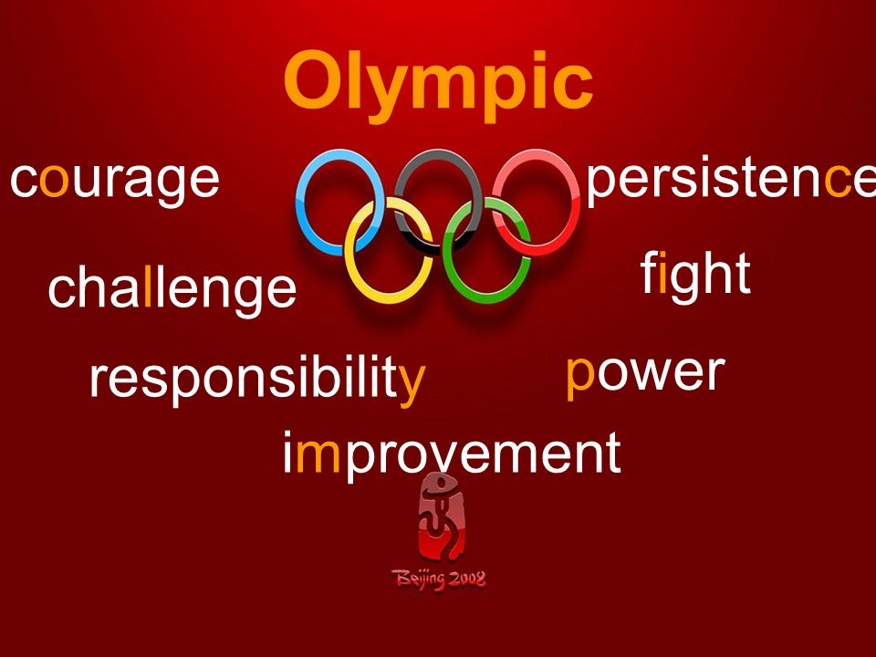 Olympic courage persistence fight challenge power responsibility