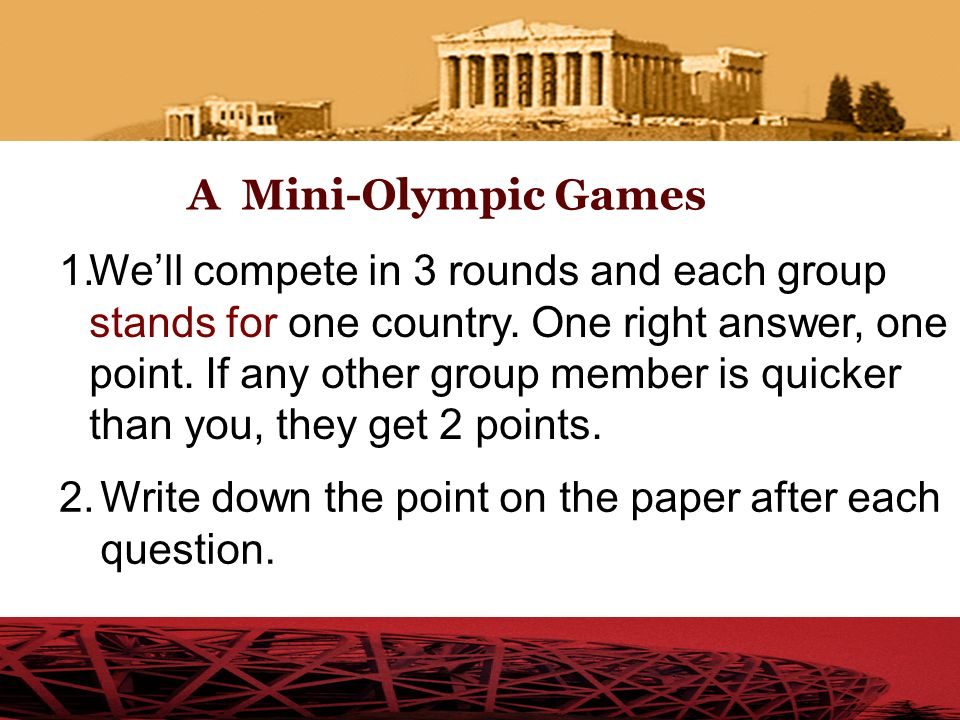 A Mini-Olympic Games
