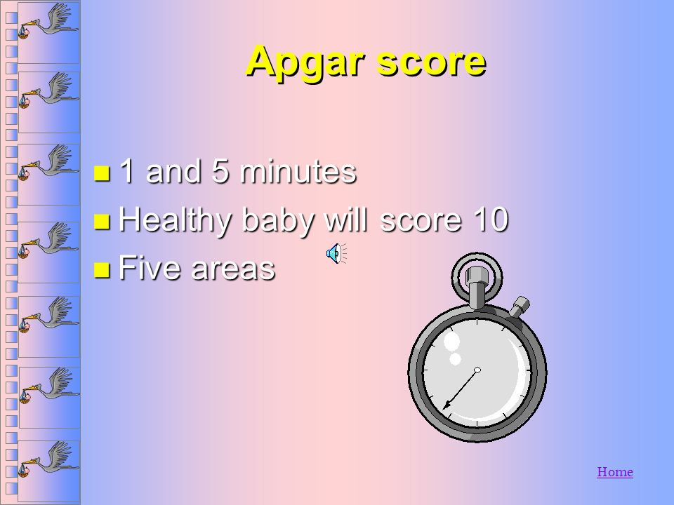 Apgar score 1 and 5 minutes Healthy baby will score 10 Five areas