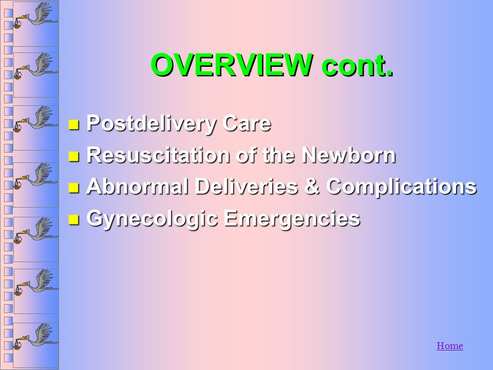 OVERVIEW cont. Postdelivery Care Resuscitation of the Newborn