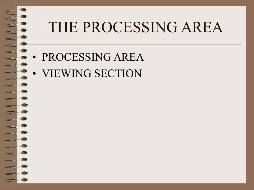 THE PROCESSING AREA PROCESSING AREA VIEWING SECTION