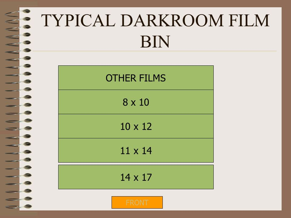 TYPICAL DARKROOM FILM BIN
