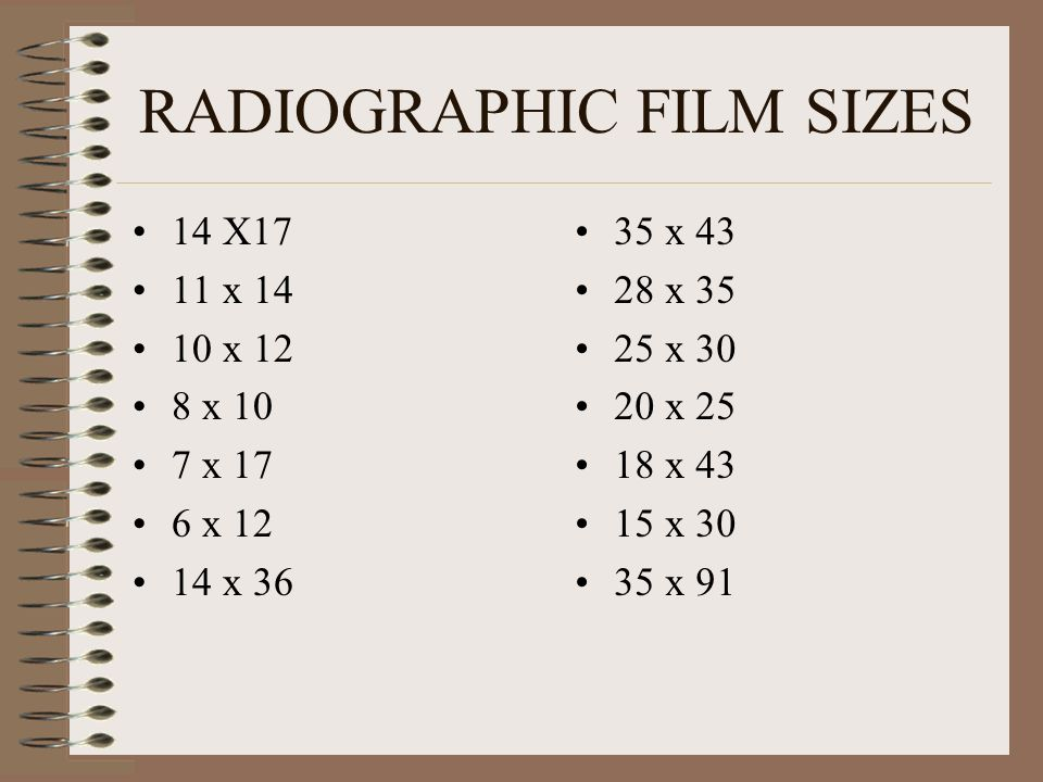 RADIOGRAPHIC FILM SIZES