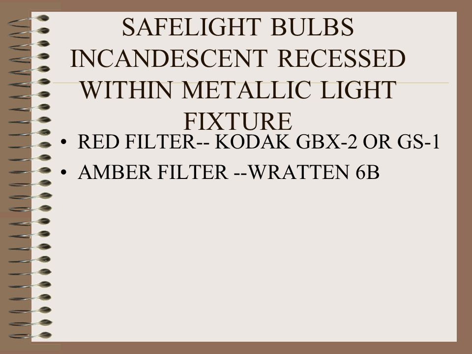 SAFELIGHT BULBS INCANDESCENT RECESSED WITHIN METALLIC LIGHT FIXTURE