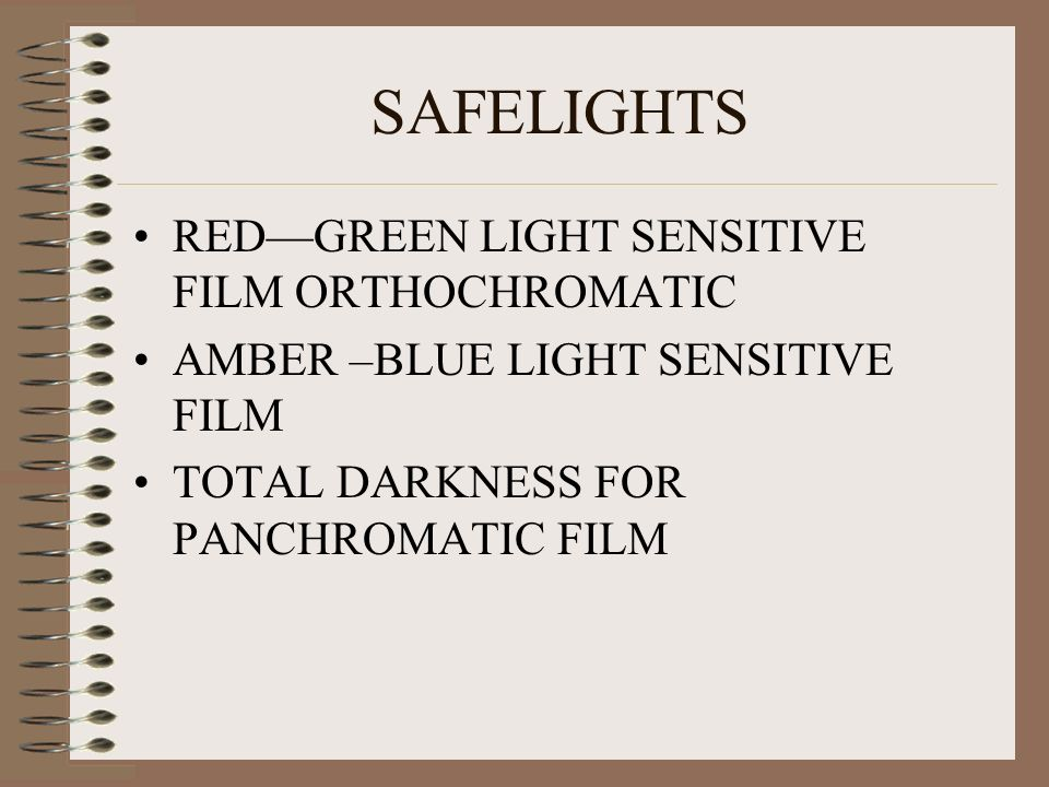 SAFELIGHTS RED—GREEN LIGHT SENSITIVE FILM ORTHOCHROMATIC