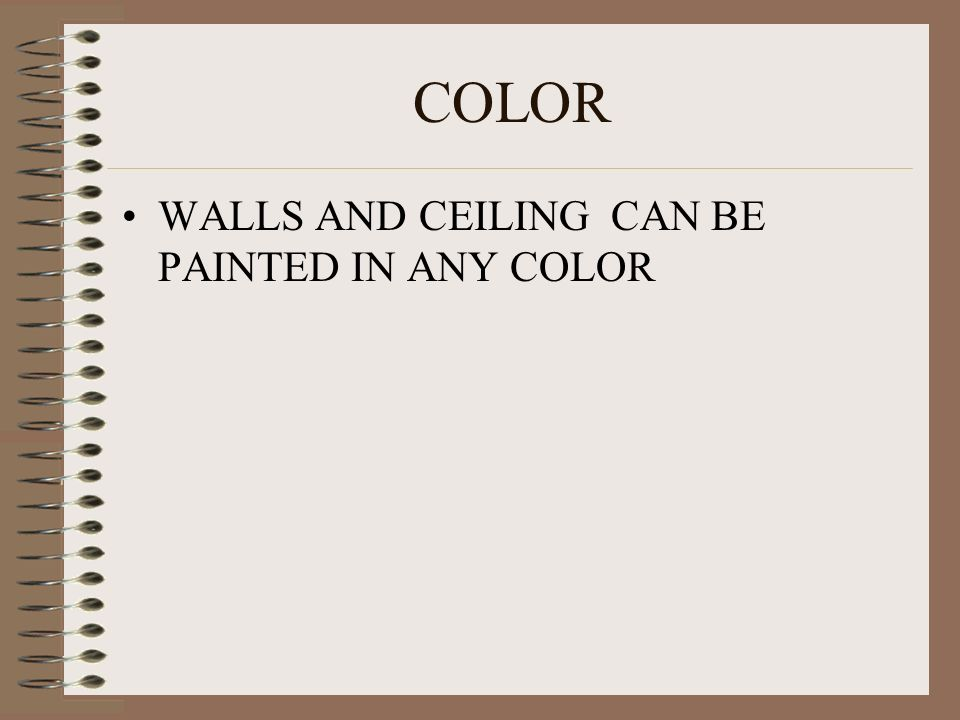 COLOR WALLS AND CEILING CAN BE PAINTED IN ANY COLOR