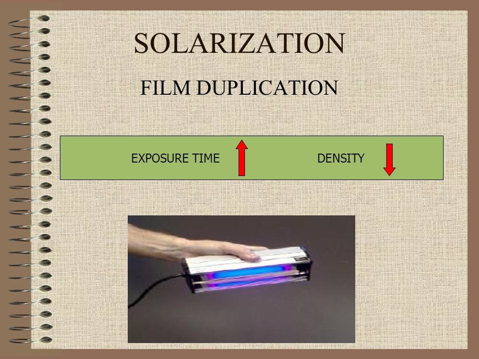 SOLARIZATION FILM DUPLICATION EXPOSURE TIME DENSITY