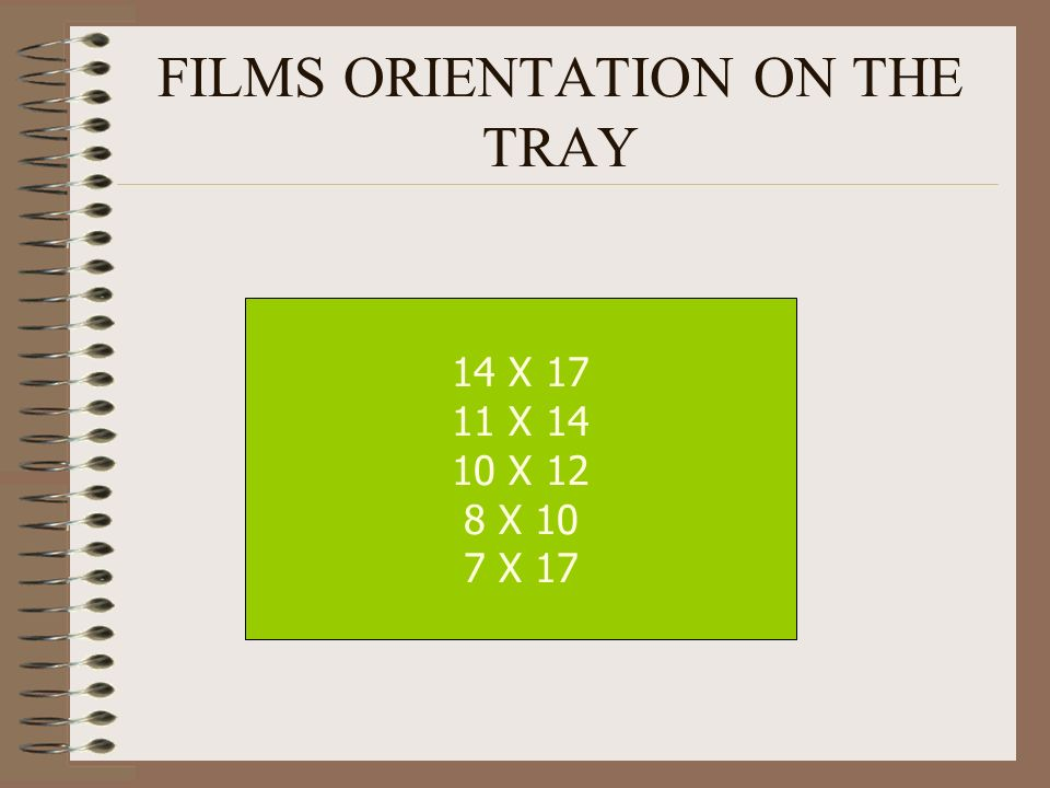 FILMS ORIENTATION ON THE TRAY