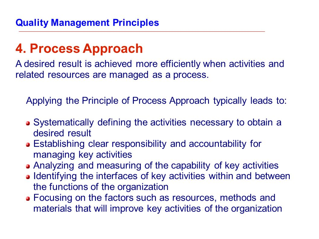 4. Process Approach Quality Management Principles