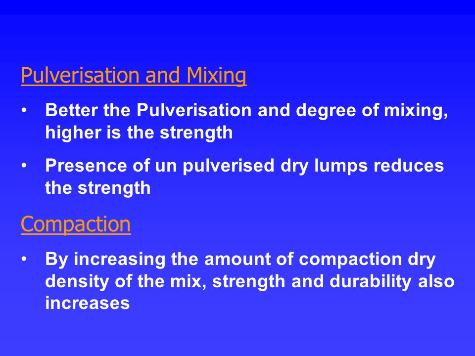 Pulverisation and Mixing