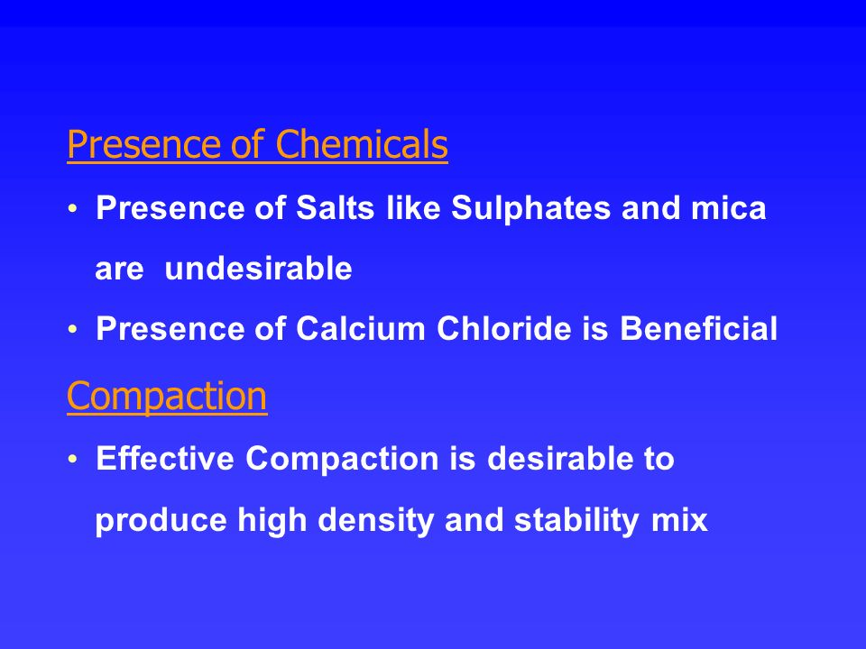 Presence of Chemicals Compaction