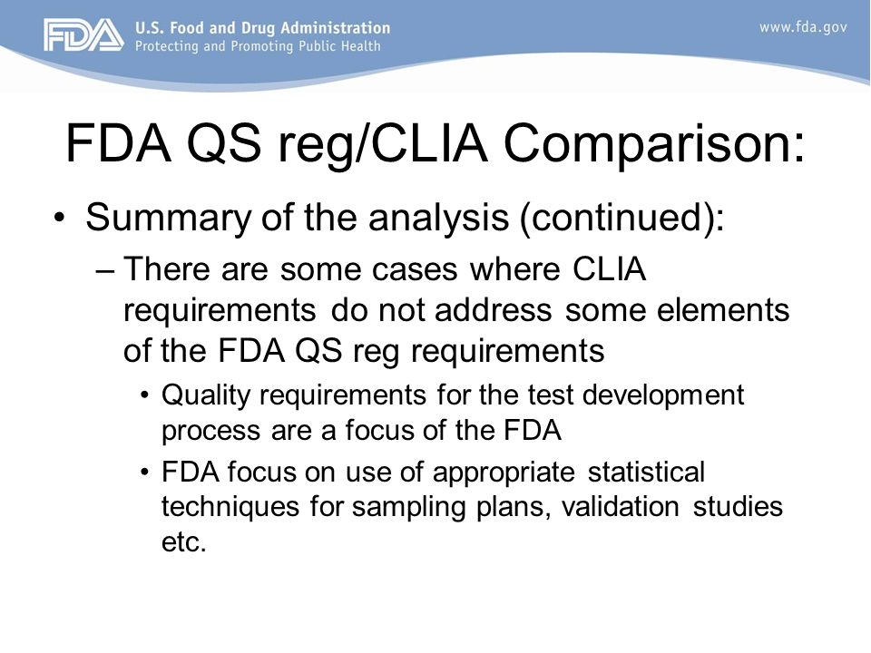 FDA QS reg/CLIA Comparison: