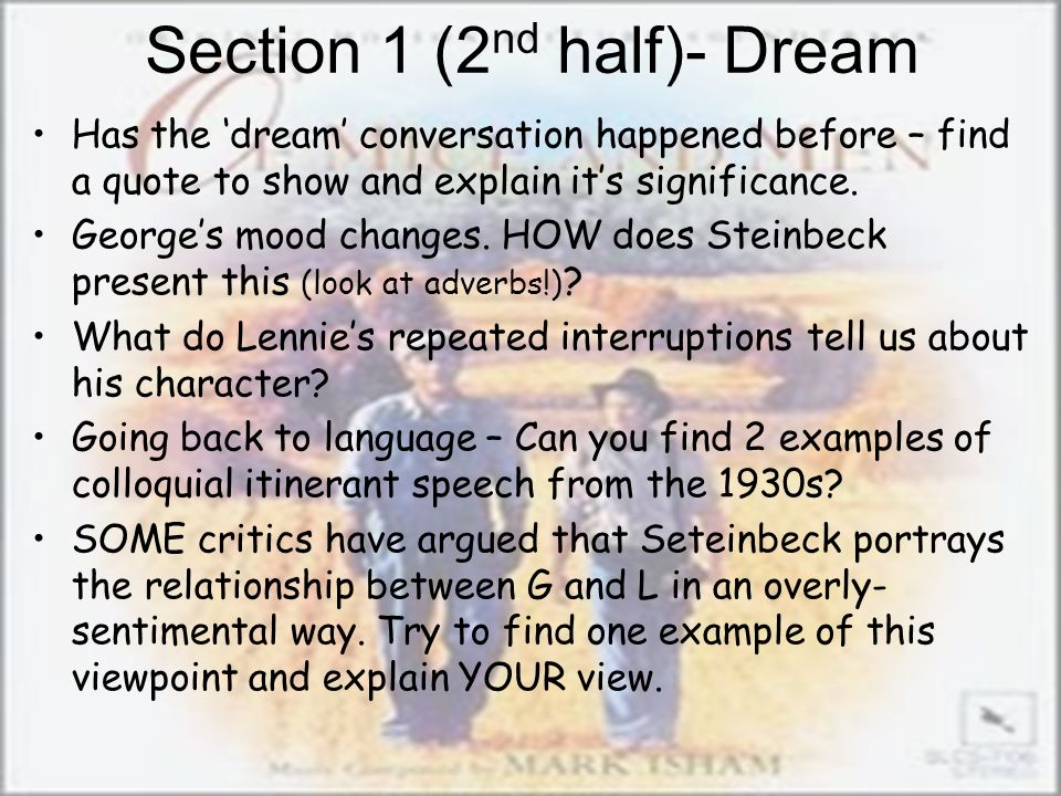 Section 1 (2nd half)- Dream