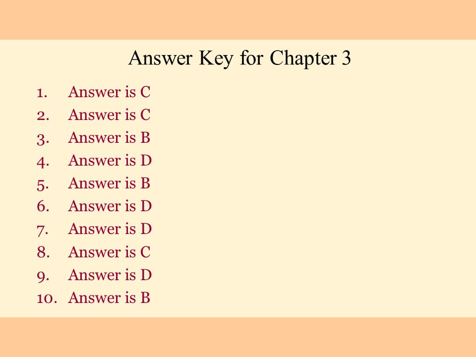 Answer is C Answer is B Answer is D