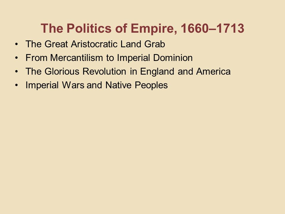 The Politics of Empire, 1660–1713