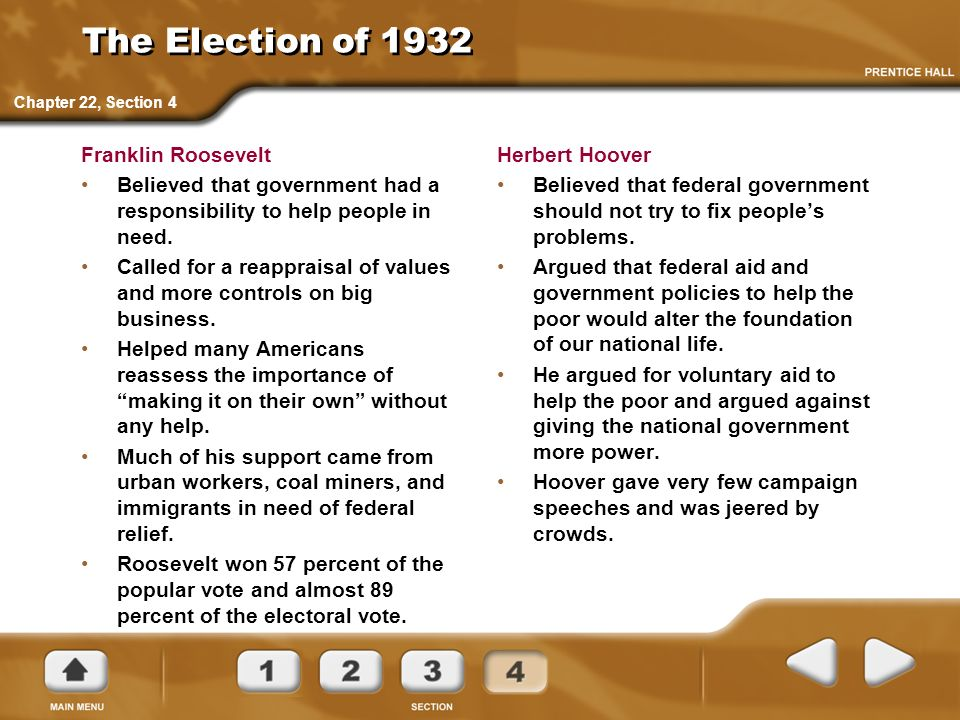 The Election of 1932 Franklin Roosevelt