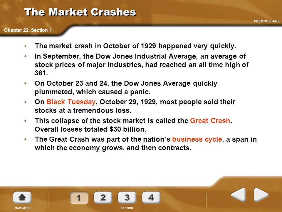 The Market Crashes Chapter 22, Section 1. The market crash in October of 1929 happened very quickly.