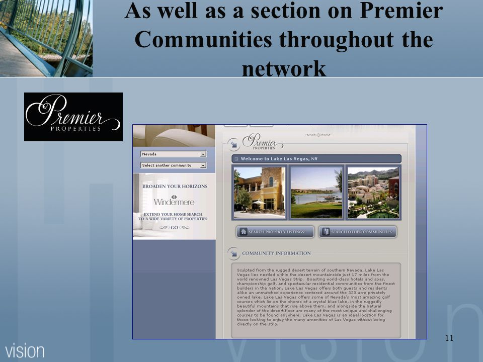 As well as a section on Premier Communities throughout the network