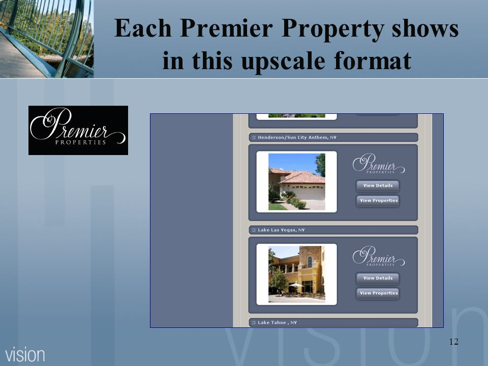 Each Premier Property shows in this upscale format