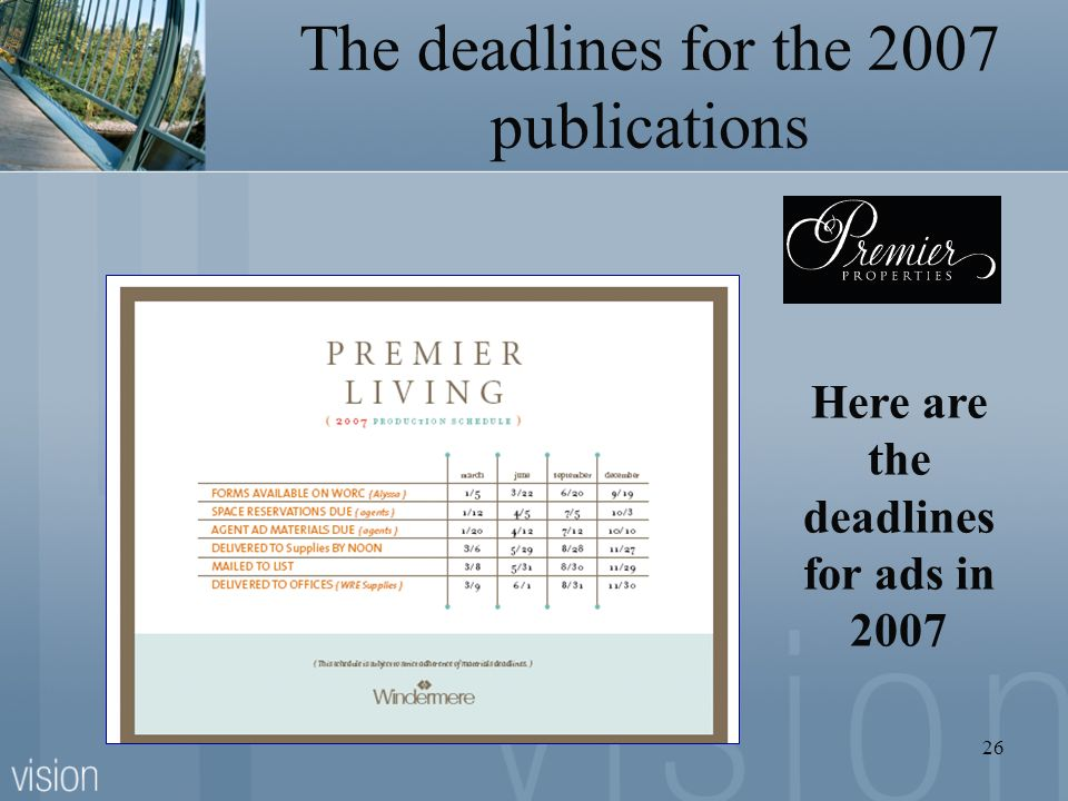 The deadlines for the 2007 publications