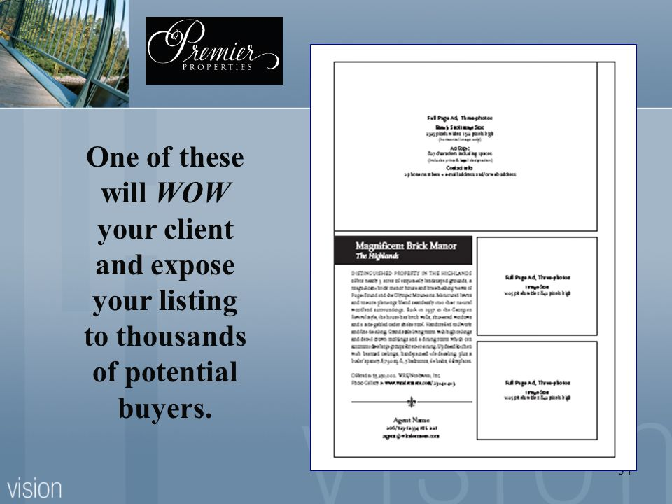 One of these will WOW your client and expose your listing to thousands of potential buyers.