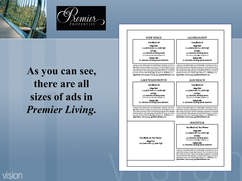 As you can see, there are all sizes of ads in Premier Living.