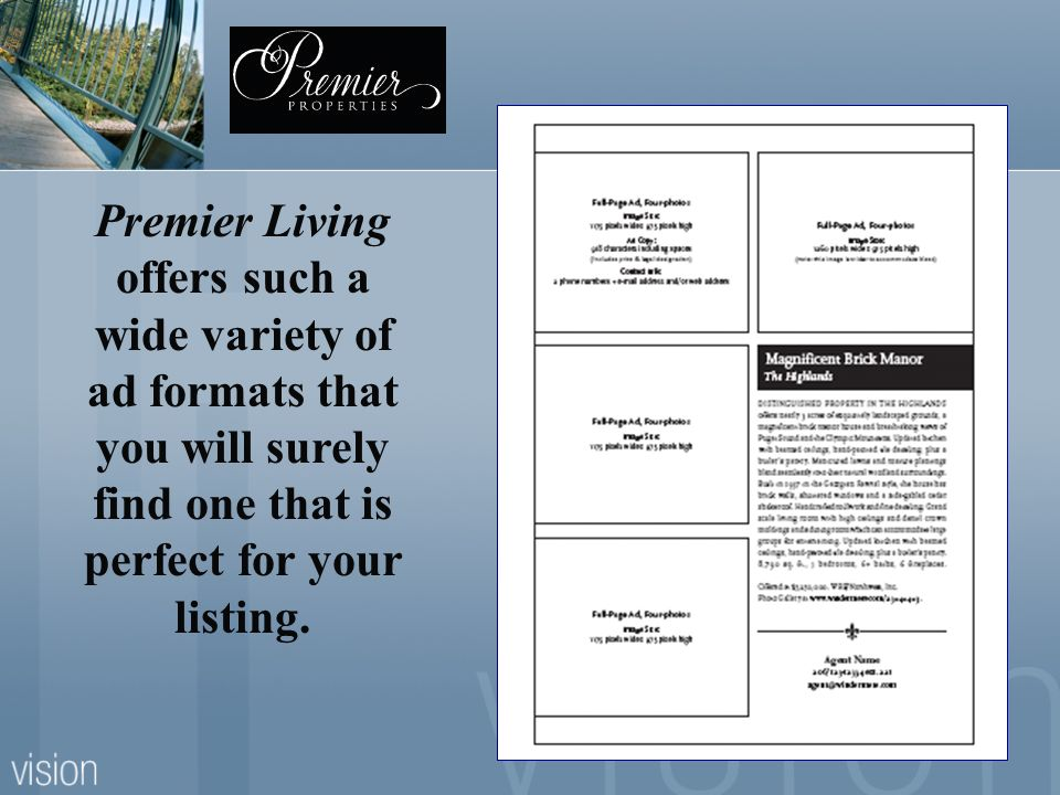 Premier Living offers such a wide variety of ad formats that you will surely find one that is perfect for your listing.