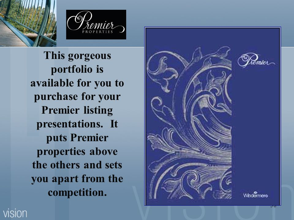 This gorgeous portfolio is available for you to purchase for your Premier listing presentations.