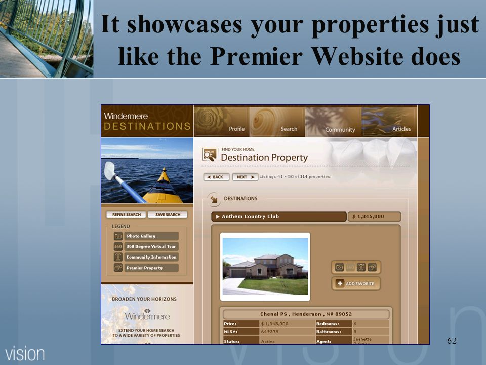 It showcases your properties just like the Premier Website does
