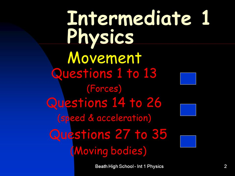 Intermediate 1 Physics Movement Questions 1 to 13 Questions 14 to 26