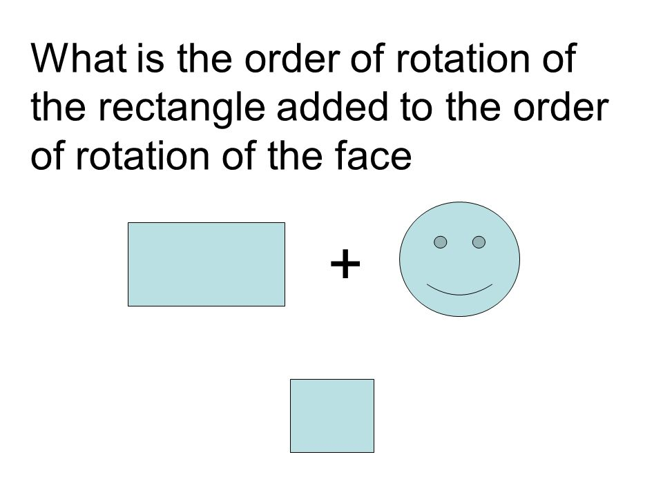What is the order of rotation of the rectangle added to the order of rotation of the face