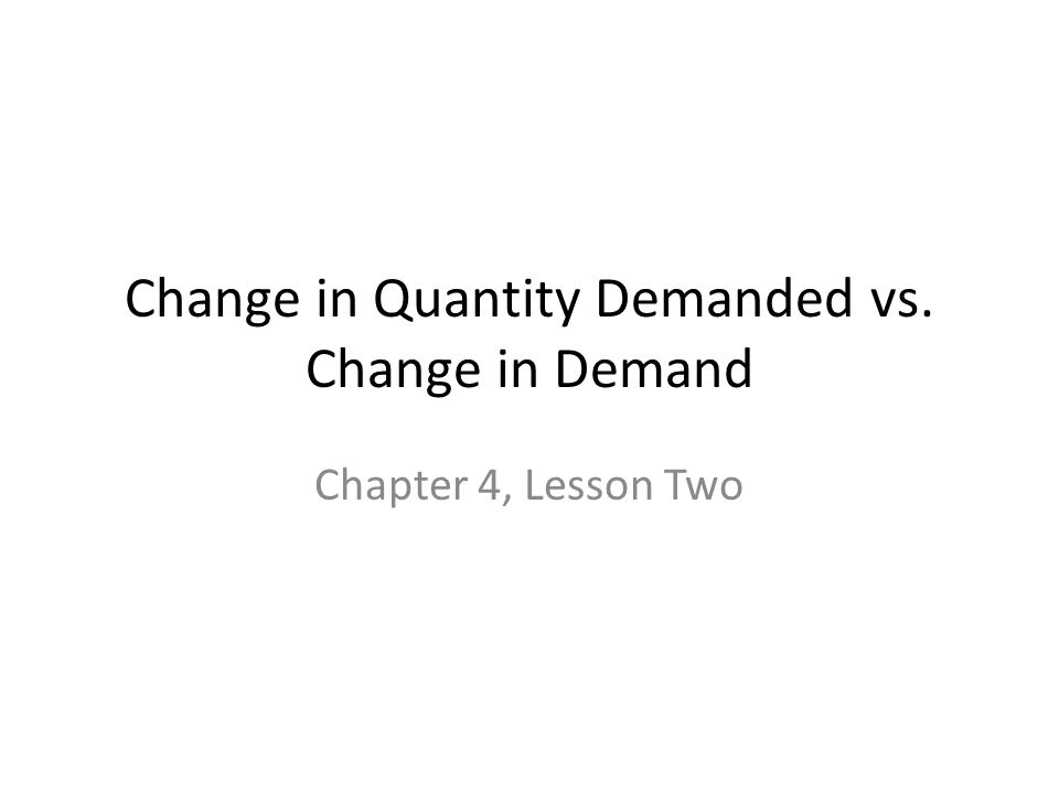 Change in Quantity Demanded vs. Change in Demand