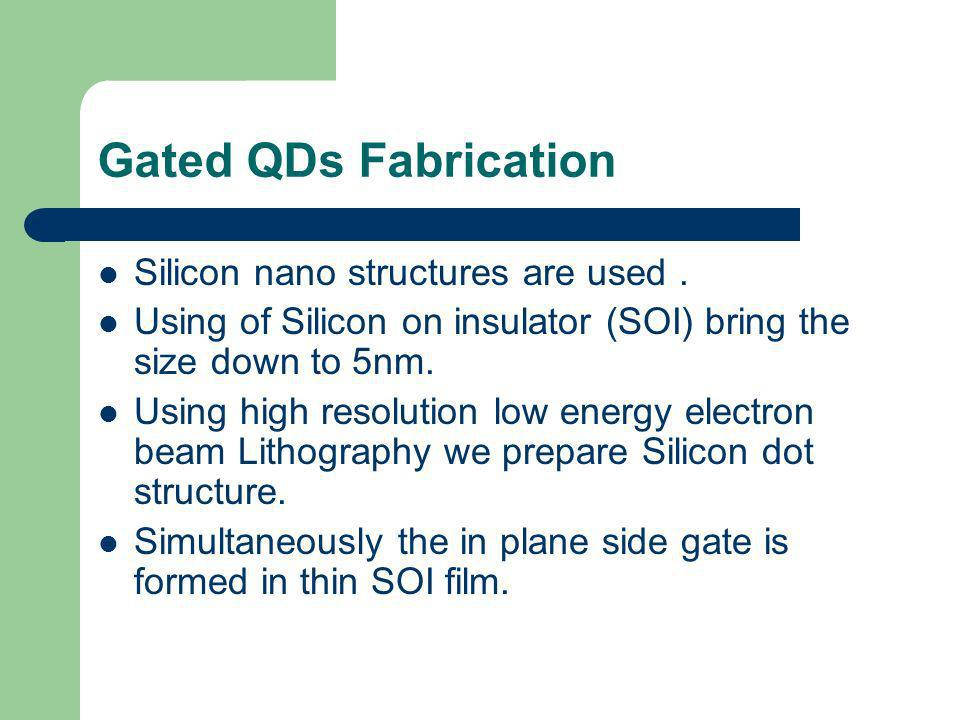 Gated QDs Fabrication Silicon nano structures are used .