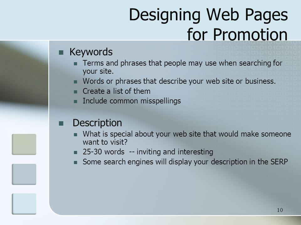 Designing Web Pages for Promotion