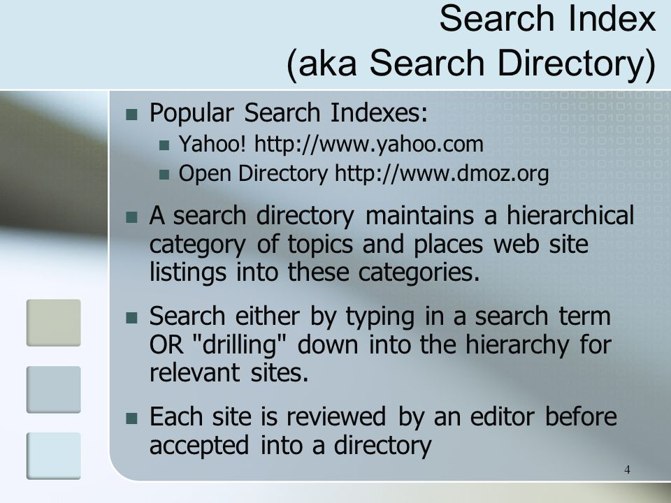 Search Index (aka Search Directory)