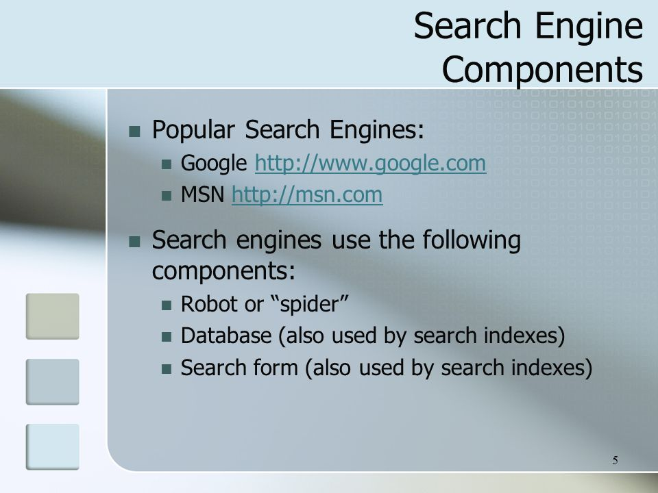 Search Engine Components