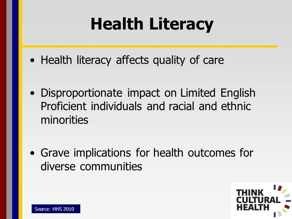 Health Literacy Health literacy affects quality of care