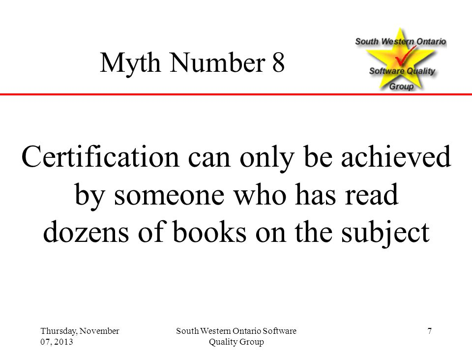 Certification can only be achieved by someone who has read
