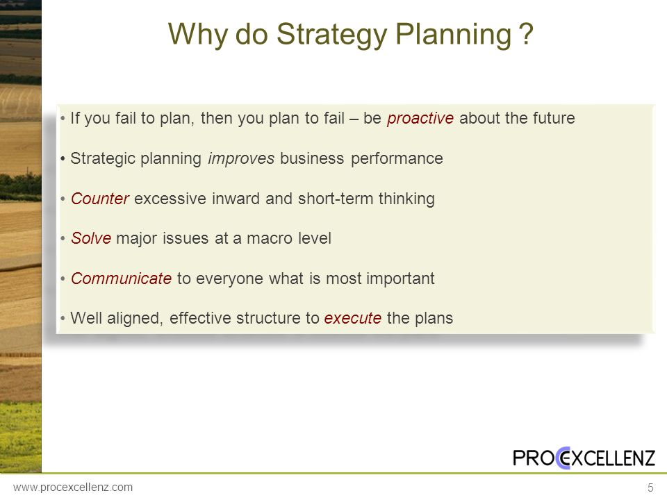 Why do Strategy Planning