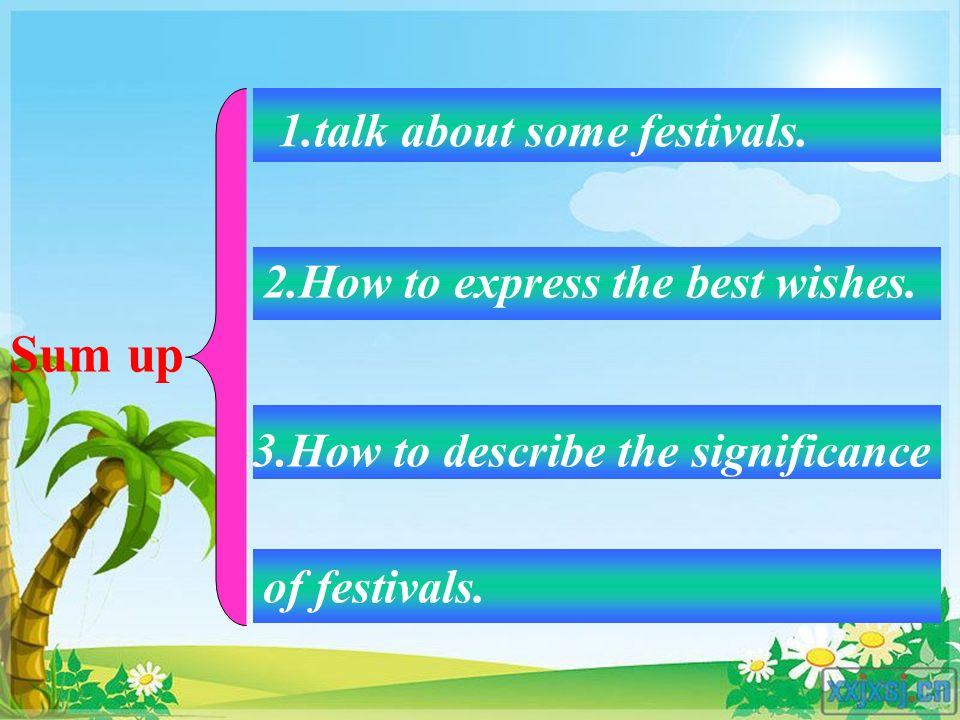 Sum up 1.talk about some festivals. 2.How to express the best wishes.