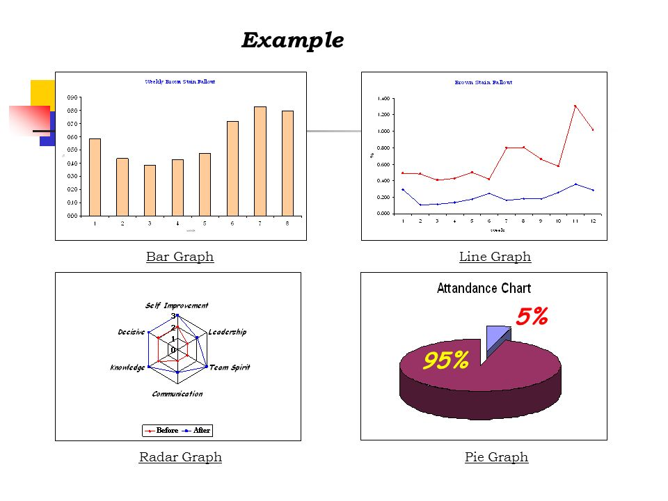 Example Bar Graph Line Graph 95% 5% Radar Graph Pie Graph