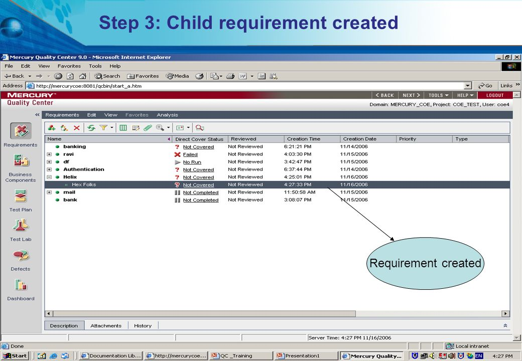 Step 3: Child requirement created