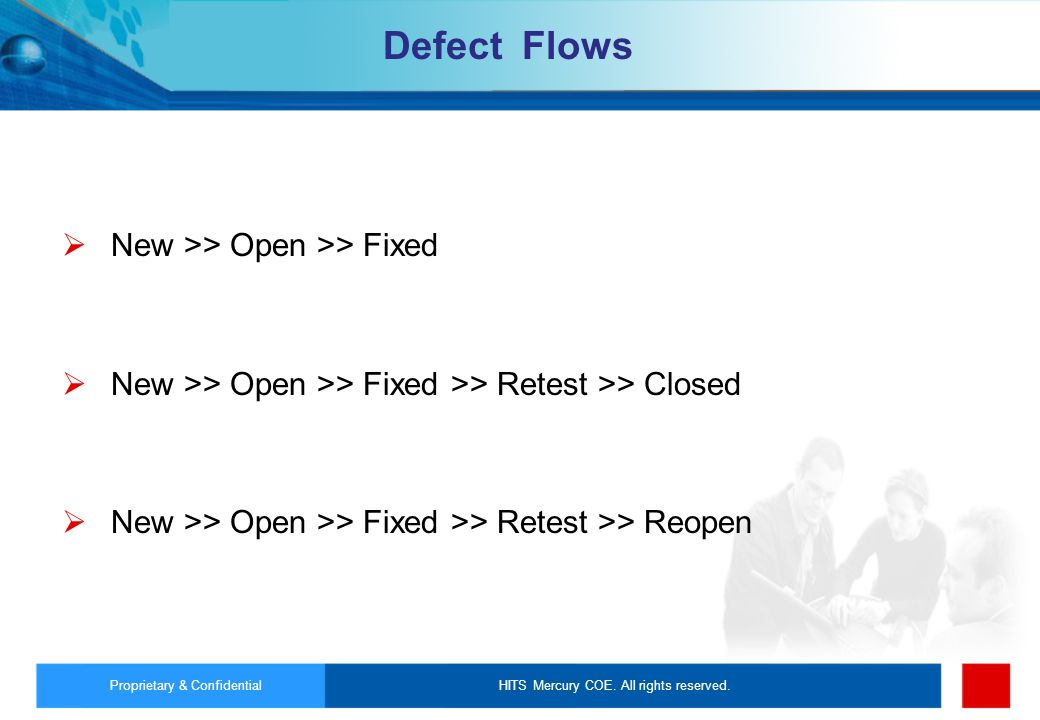 Defect Flows New >> Open >> Fixed