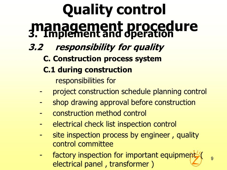 Quality control management procedure