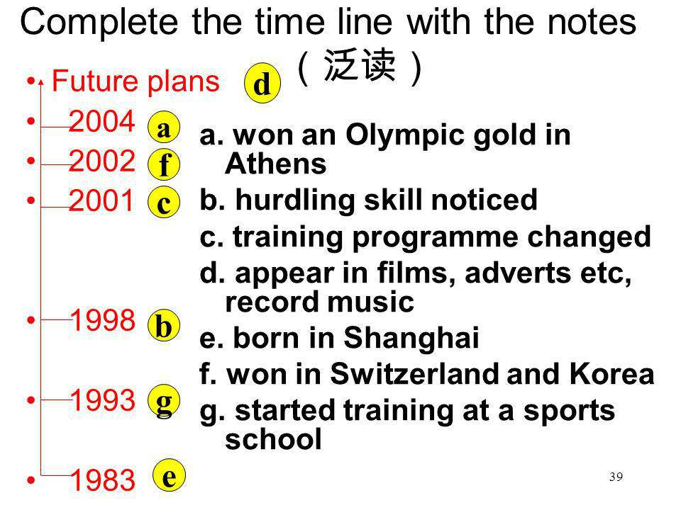 Complete the time line with the notes(泛读)