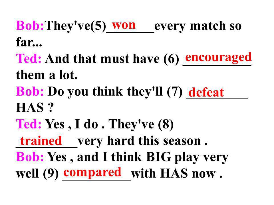 Bob:They ve(5)_______every match so far...