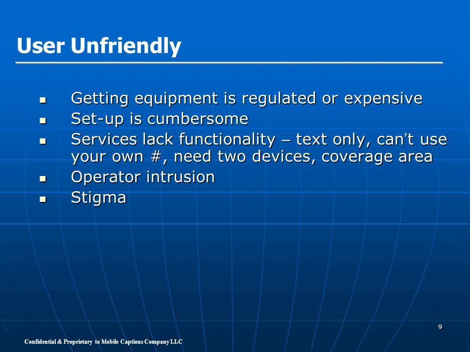 User Unfriendly Getting equipment is regulated or expensive